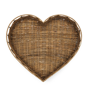 Rüstig Rattan Herz Tablett von Riviera Maison