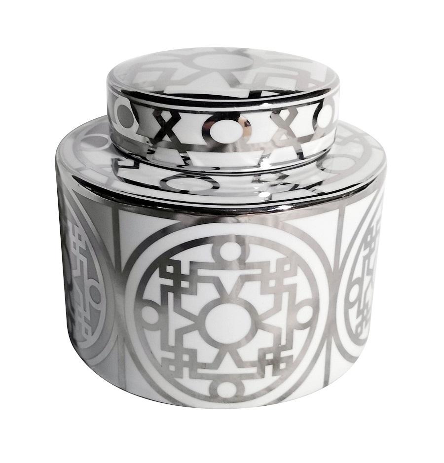 Keramiktopf in weiss/silber, verschiedene Größen