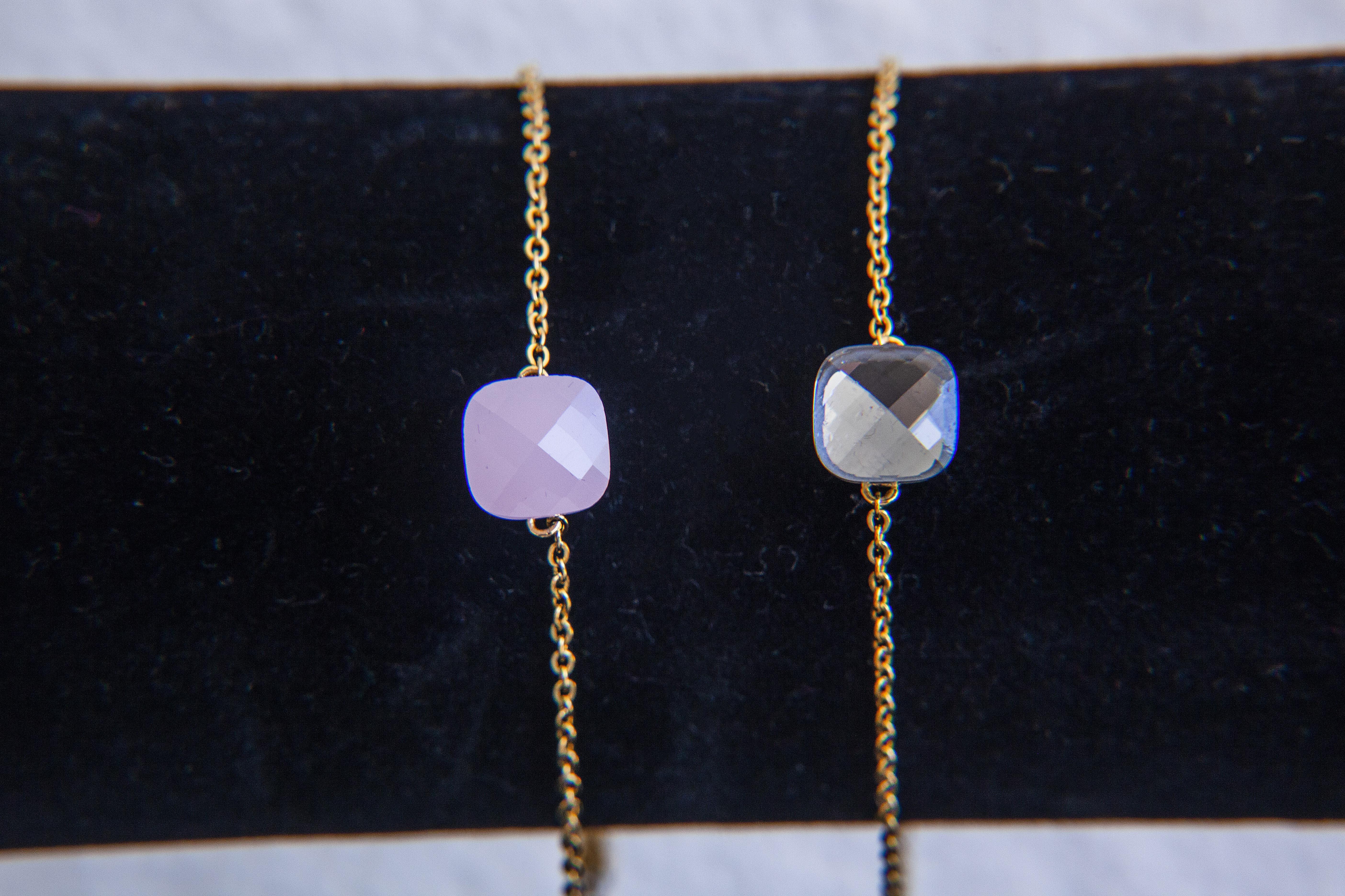 SteenStoneCollection - feingliederiges Armband mit bunten Steinen, in gold oder silberfarben