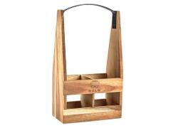 Holm Vinhållare i akaciaträ med handtag i svartlackerat järn, 23x10x37cm