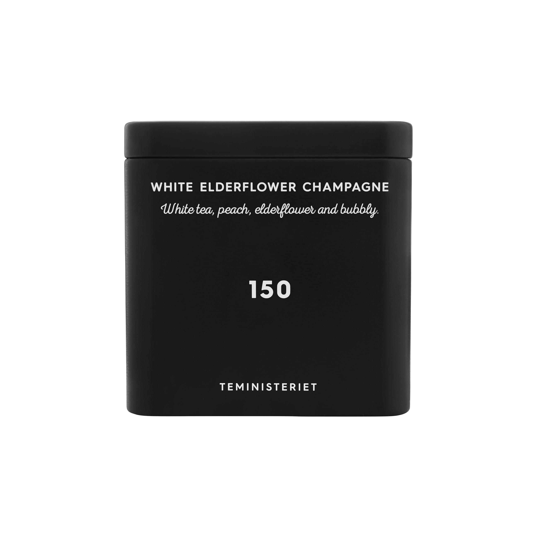 Tea - 150 white elderflower champagne i lösvikt, svart metallbox