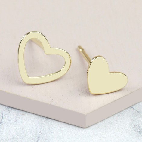 Gold Heart Mismatched Stud