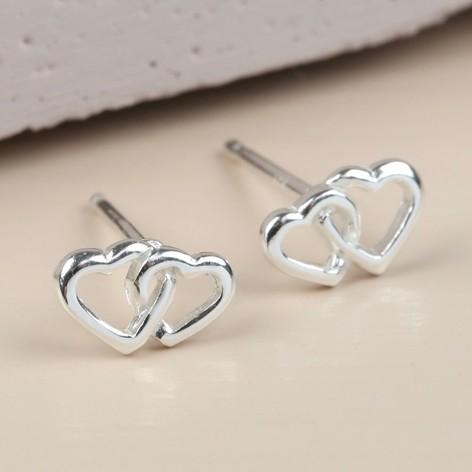 Sterling Silver Interlocking Heart Stud