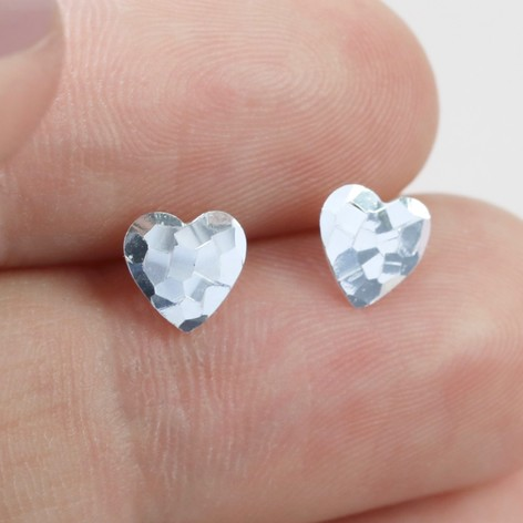 Sterling Silver Hammered Heart Stud