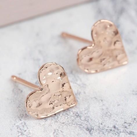 Rose Gold Hammered Heart Stud