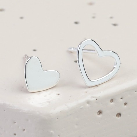 Mismatched Silver Heart Stud