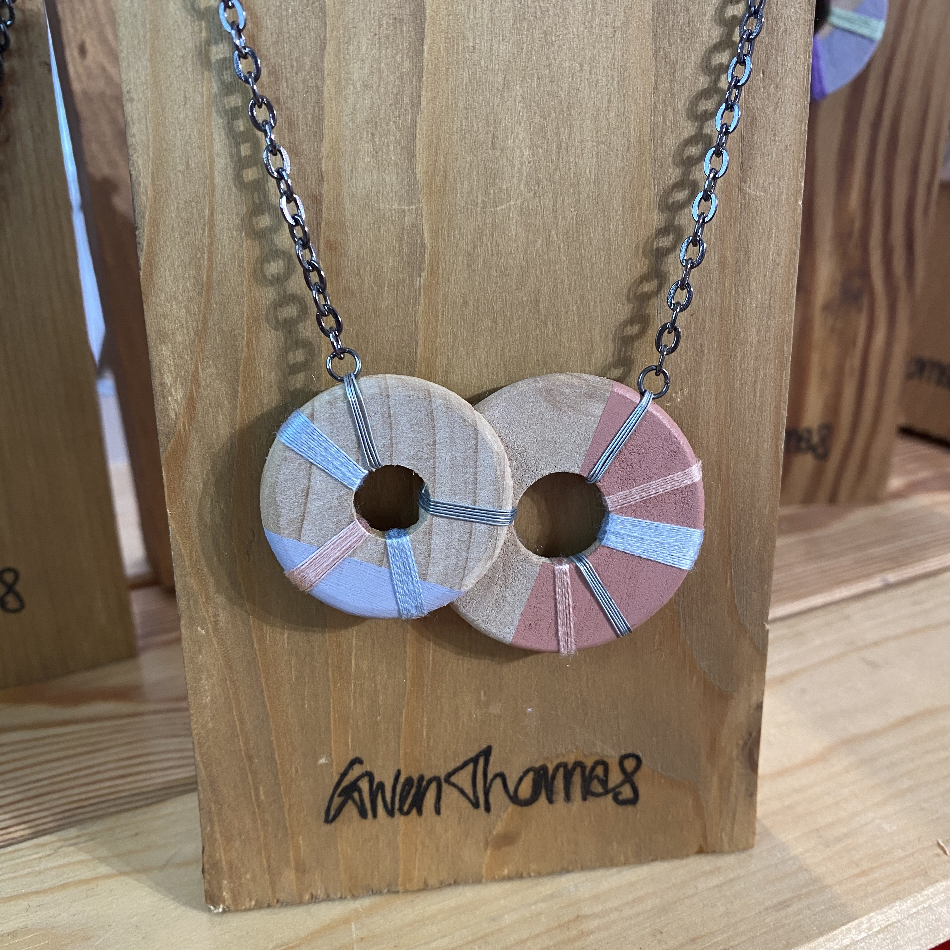 Coral 2 Wooden Circle Necklace - TGT