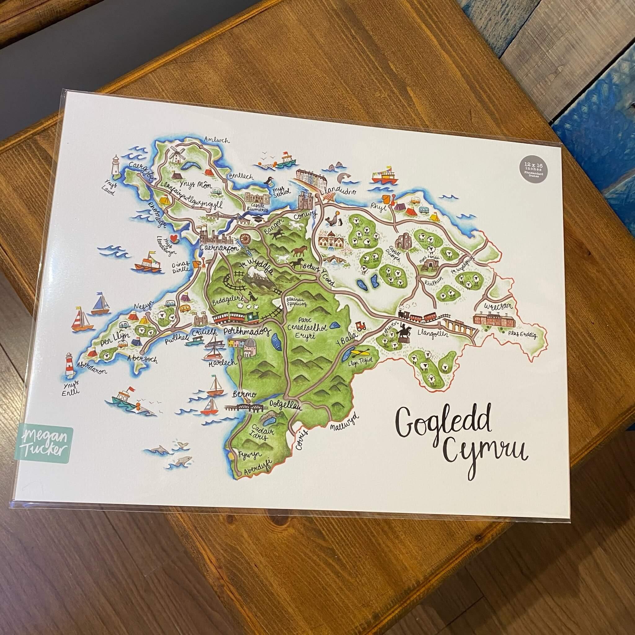 Gogledd Cymru Map Print