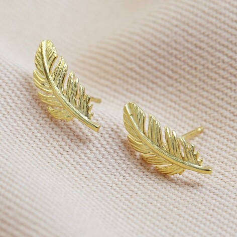 Gold Feather Stud