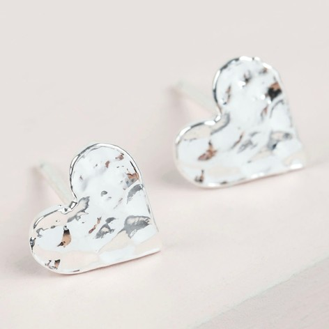 Silver Hammered Heart Stud
