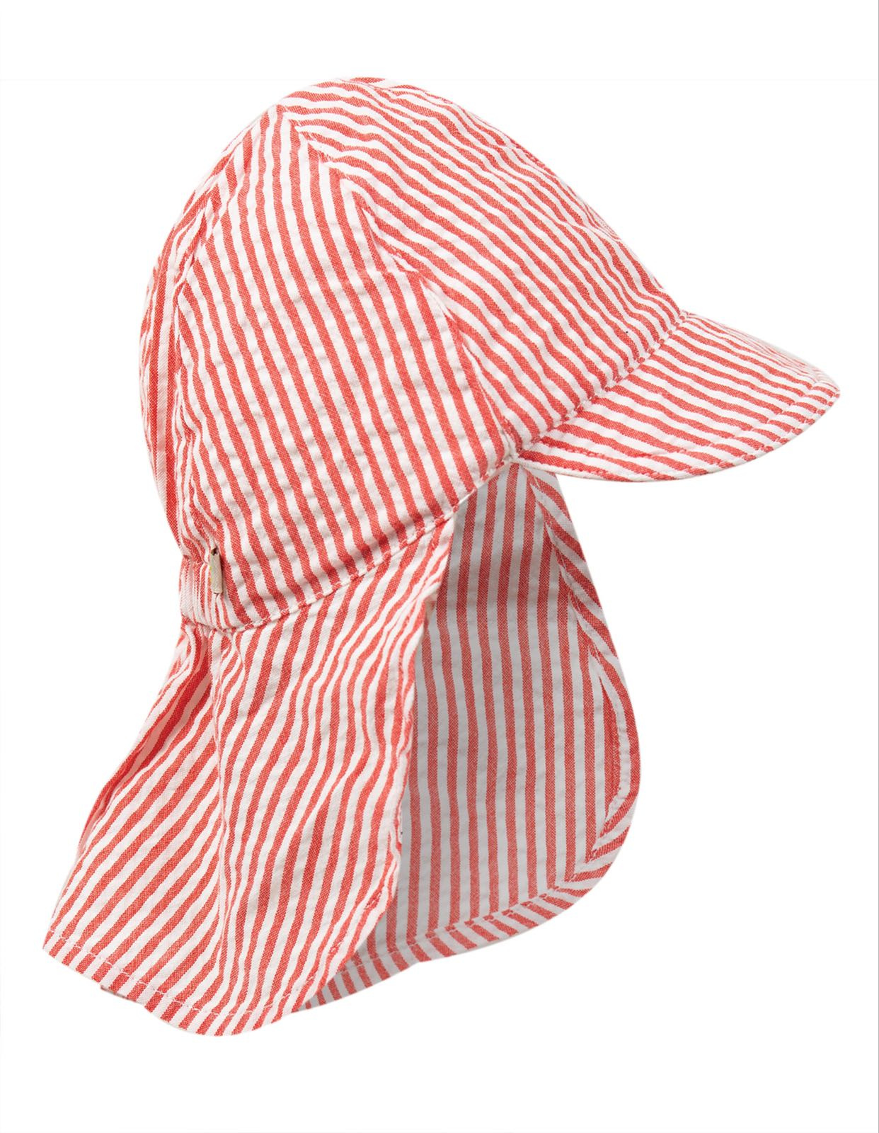 Frugi Seersucker Legionnaires Hat Koi Red Stripe
