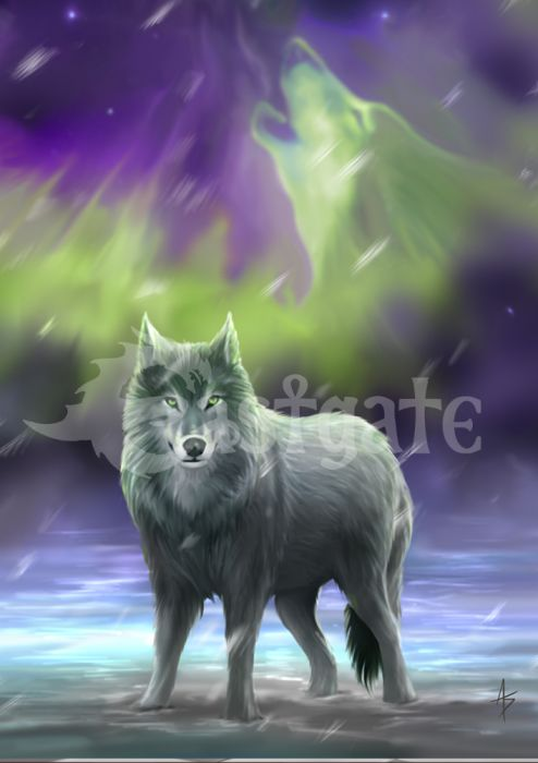Aura Wolf Greetings Card