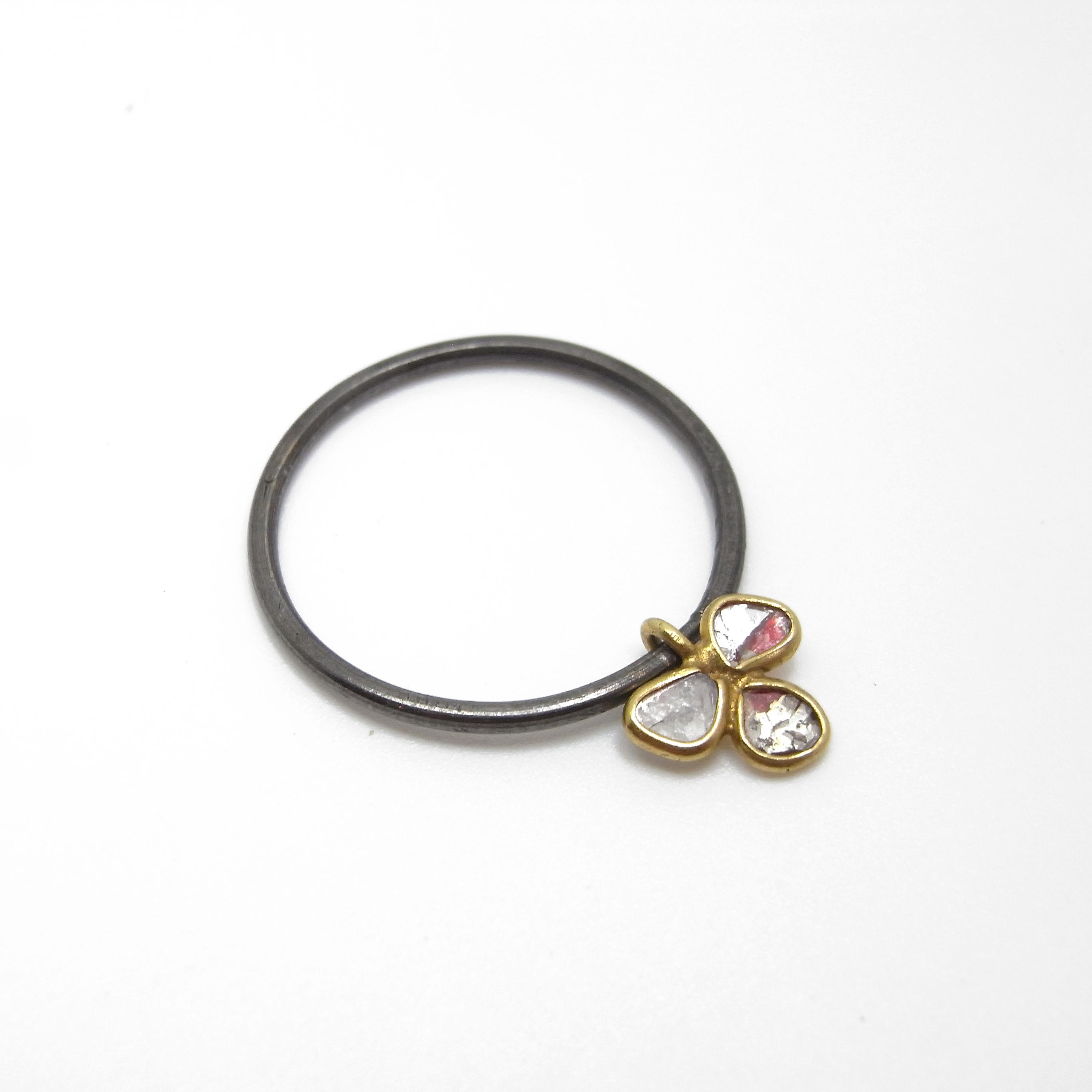 Oxidised Ring with Diamond Petal Charm