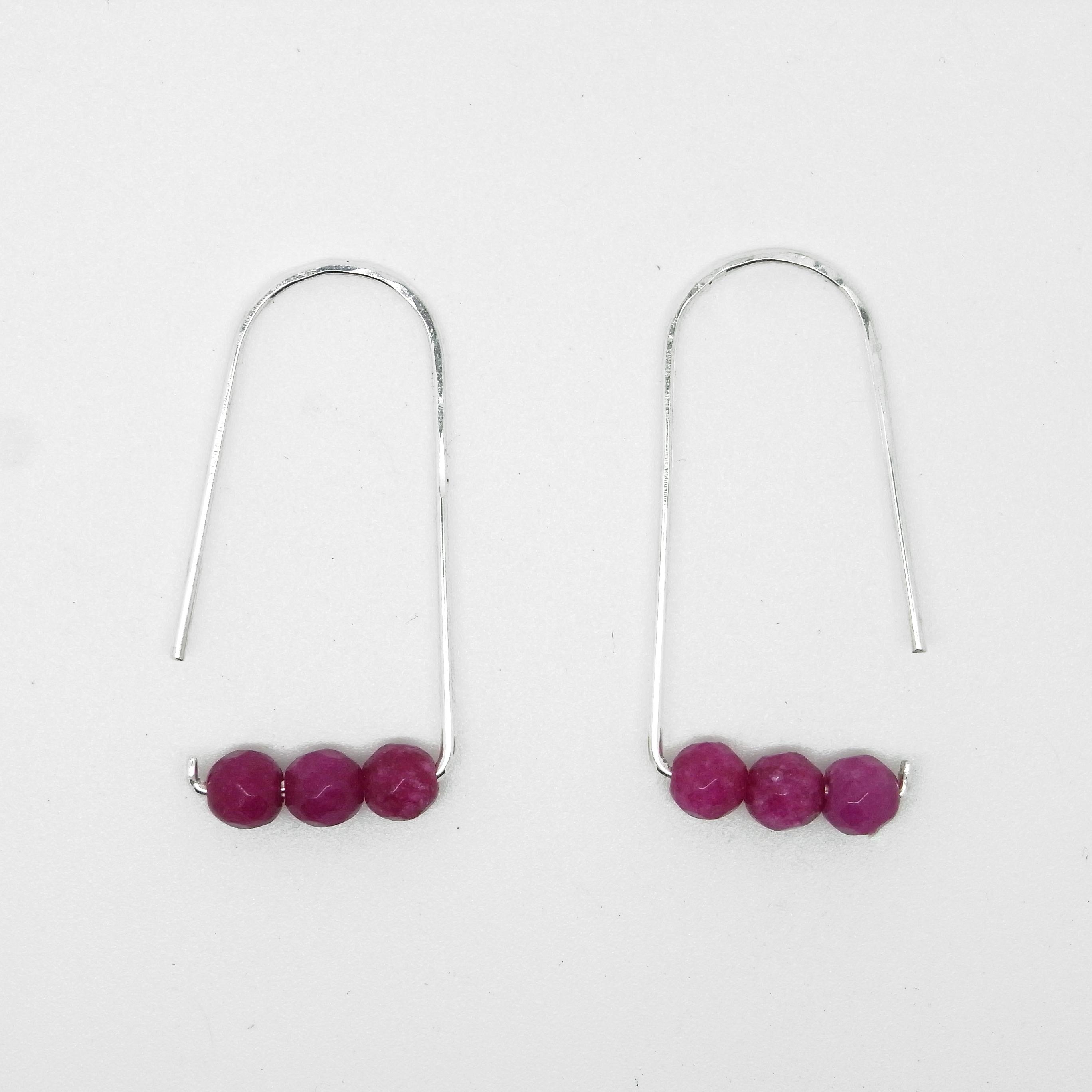 Semi Precious Bead Earrings Pink / Purple