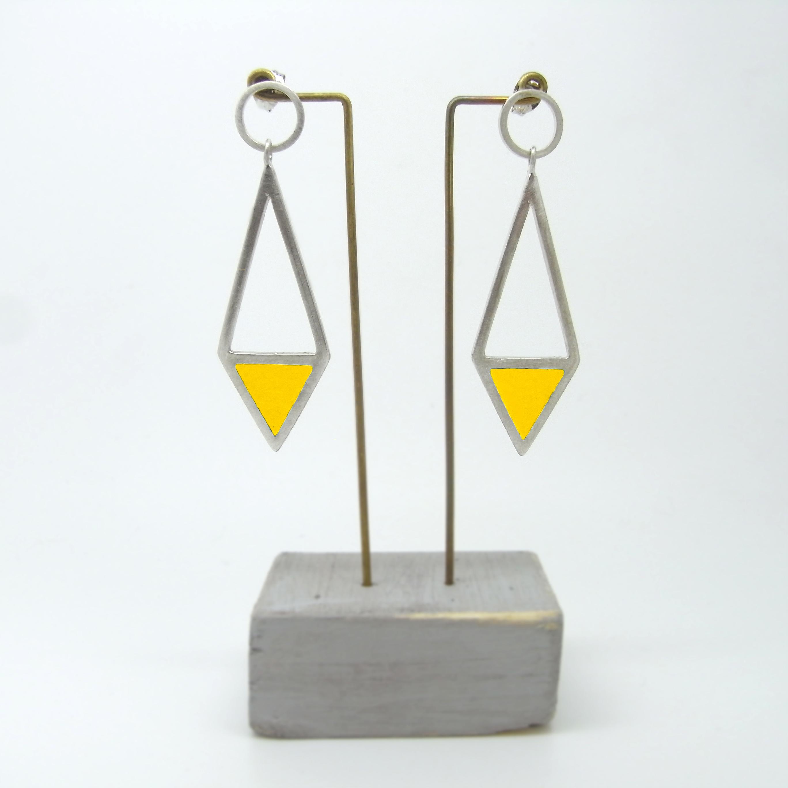 Diamond Shape Drop Earrings Yellow