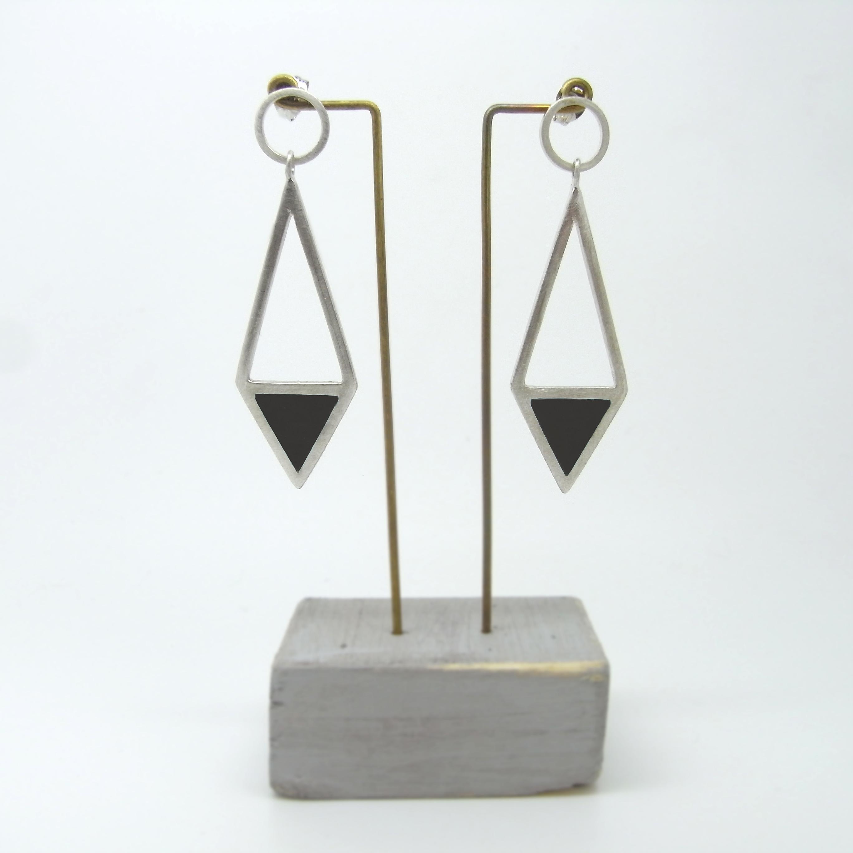 Diamond Shape Drop Earrings Black