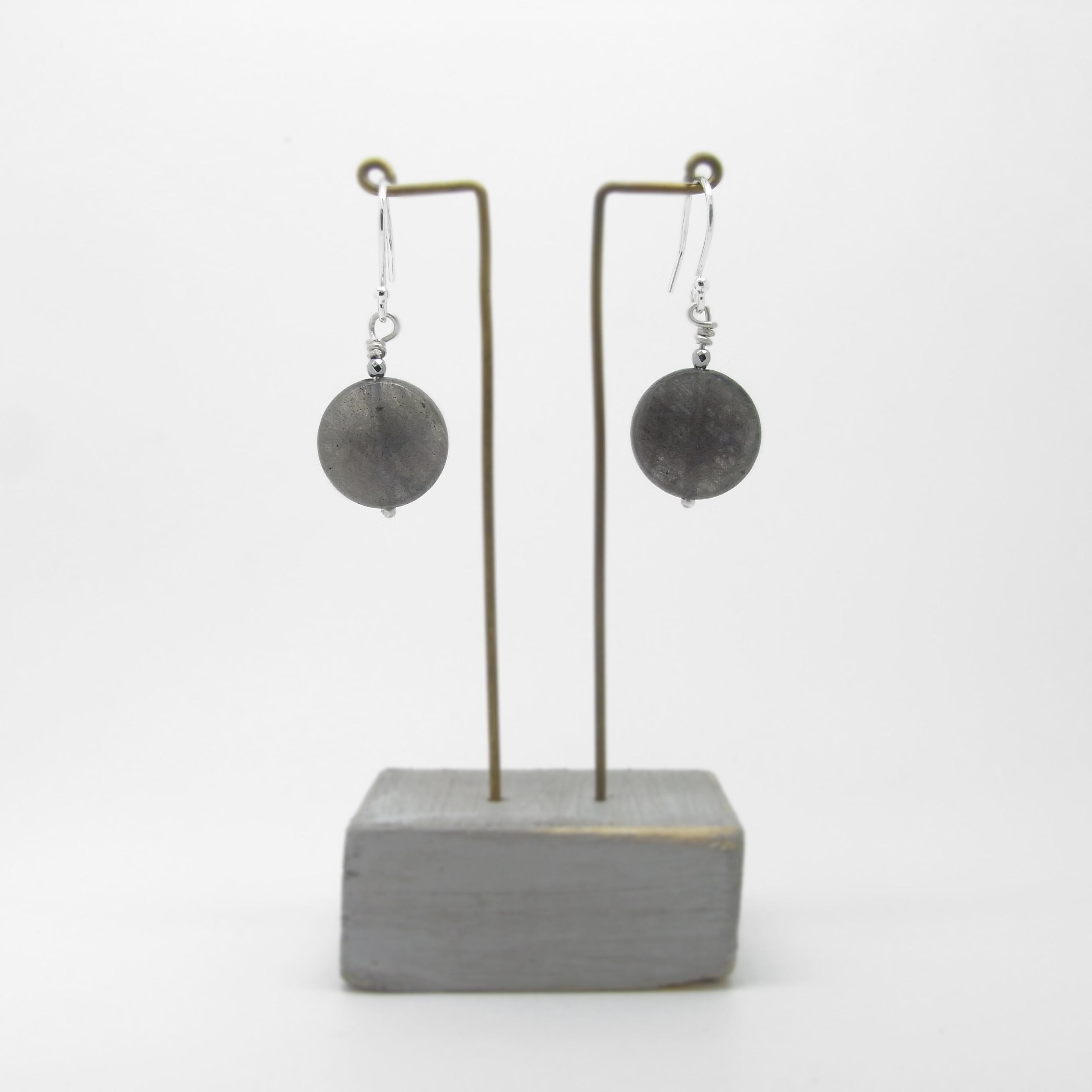 SALE - Labradorite Earrings - Round
