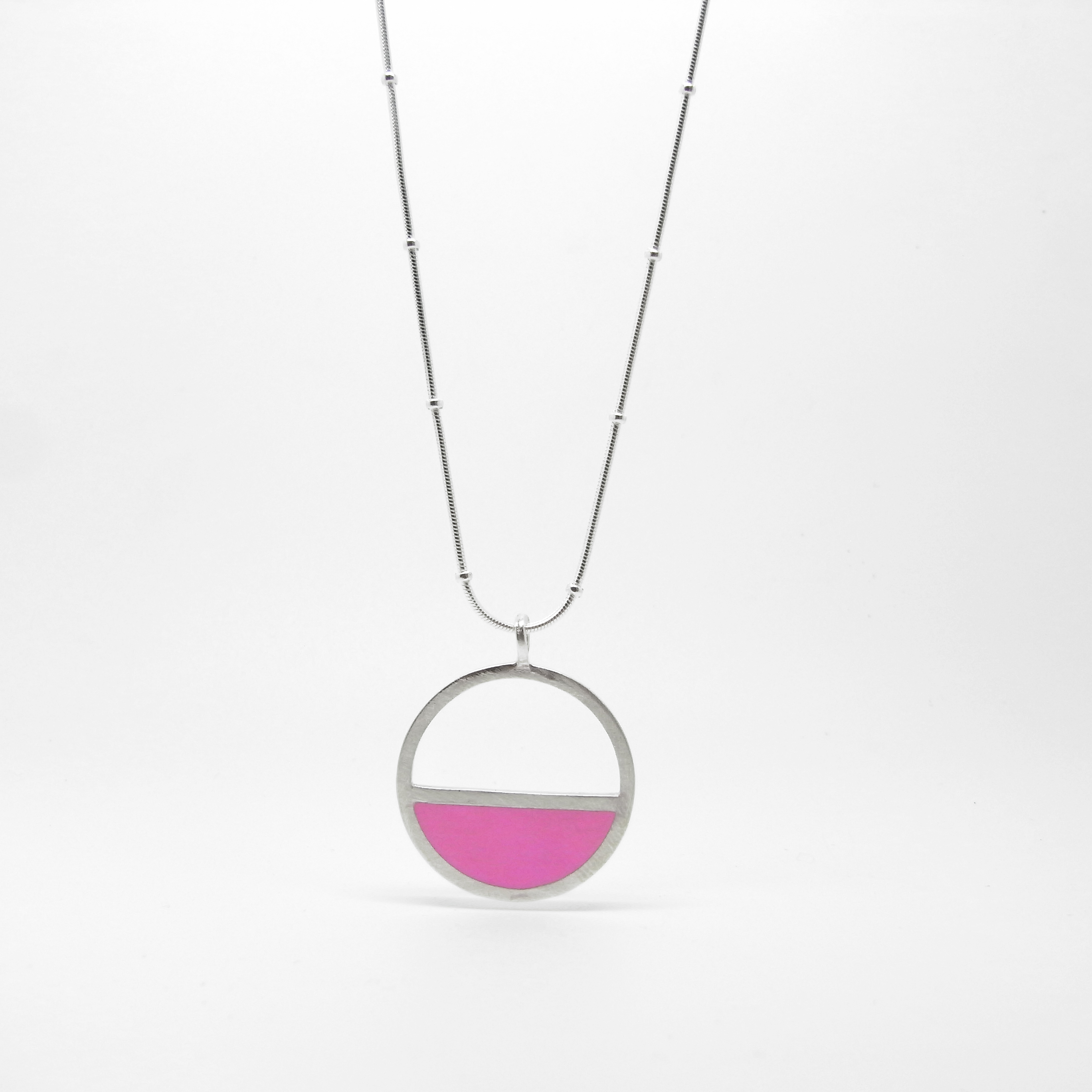 SALE - Silver & Resin Semi Circle Necklace Large