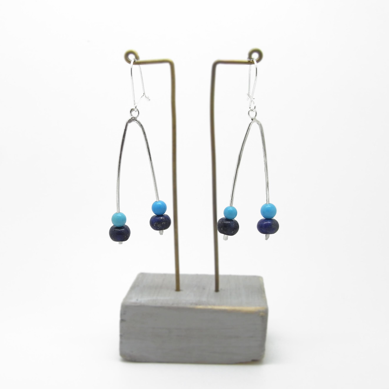 Wishbone Earrings - Howlite & Lapis
