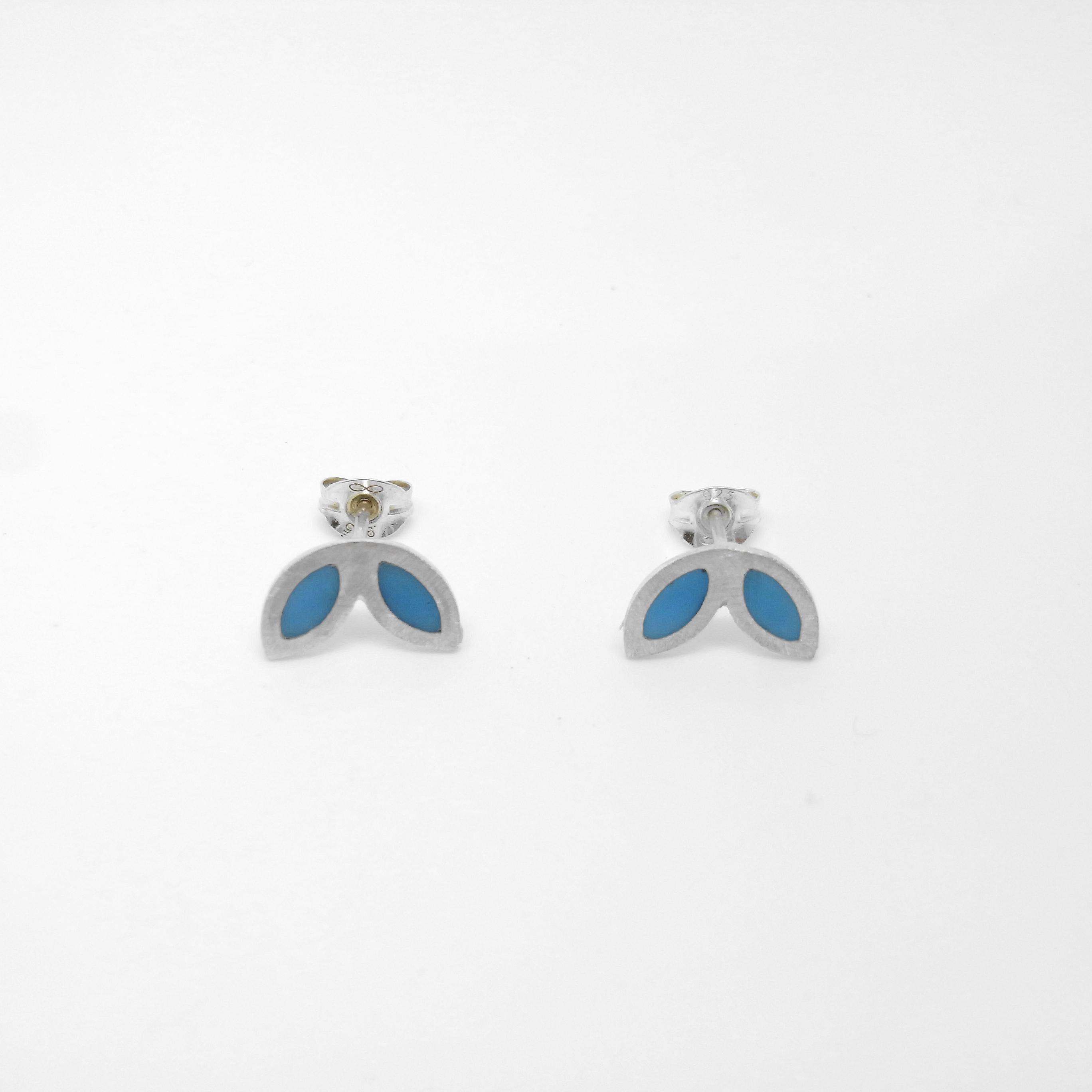 SALE - Silver Petal Studs - Blue