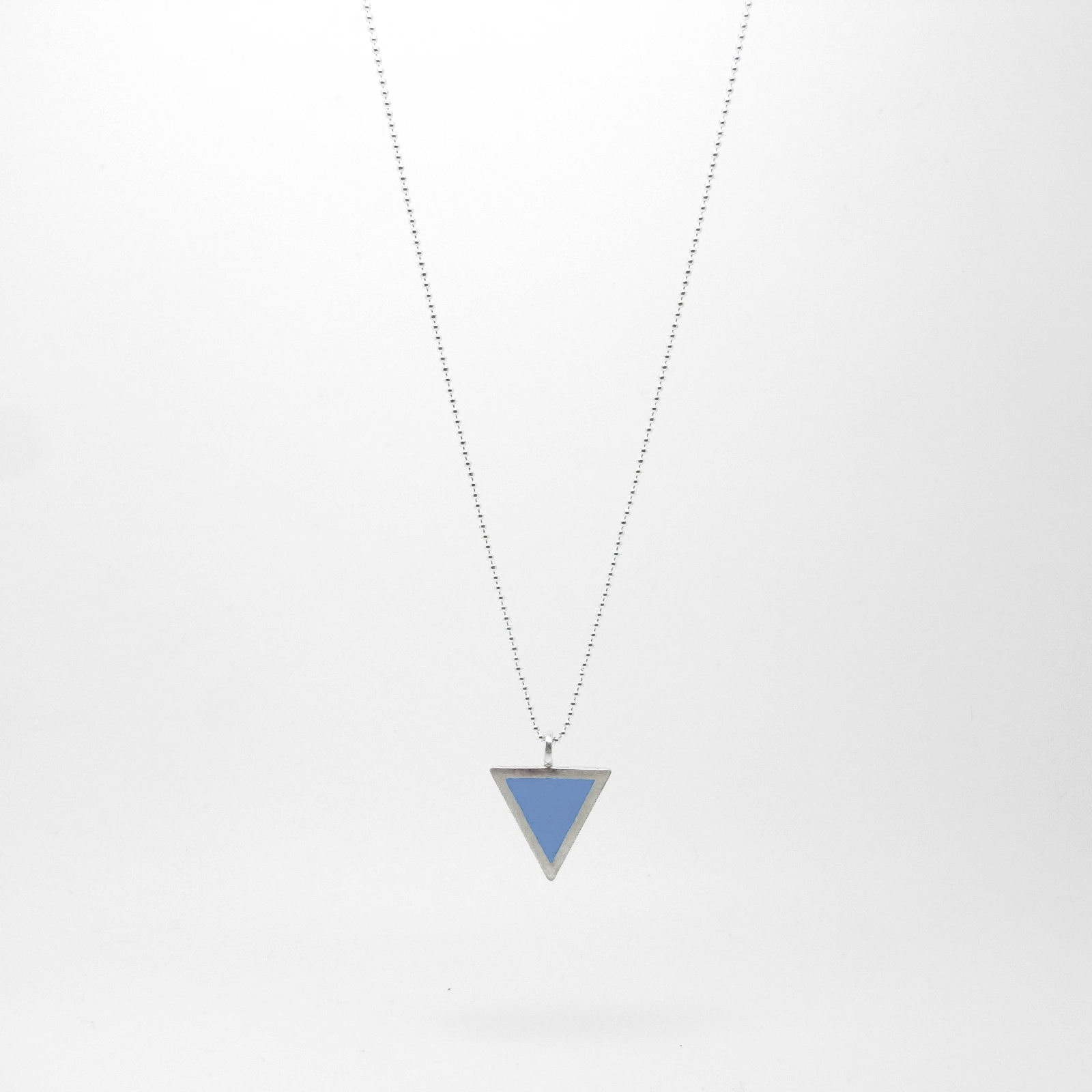 SALE - Triangle Necklace Soft Blue