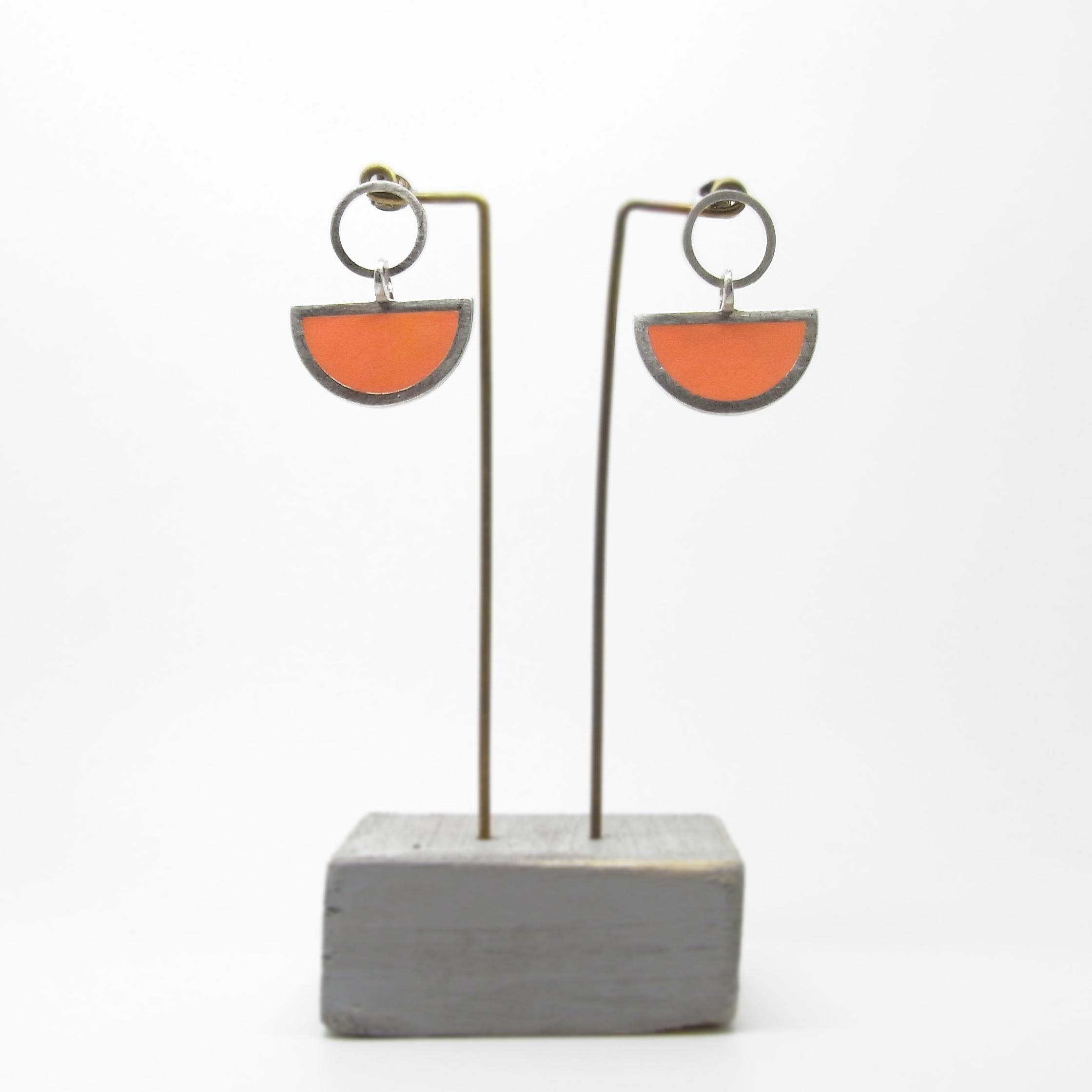 Semi Circle with Round Stud Earrings Orange