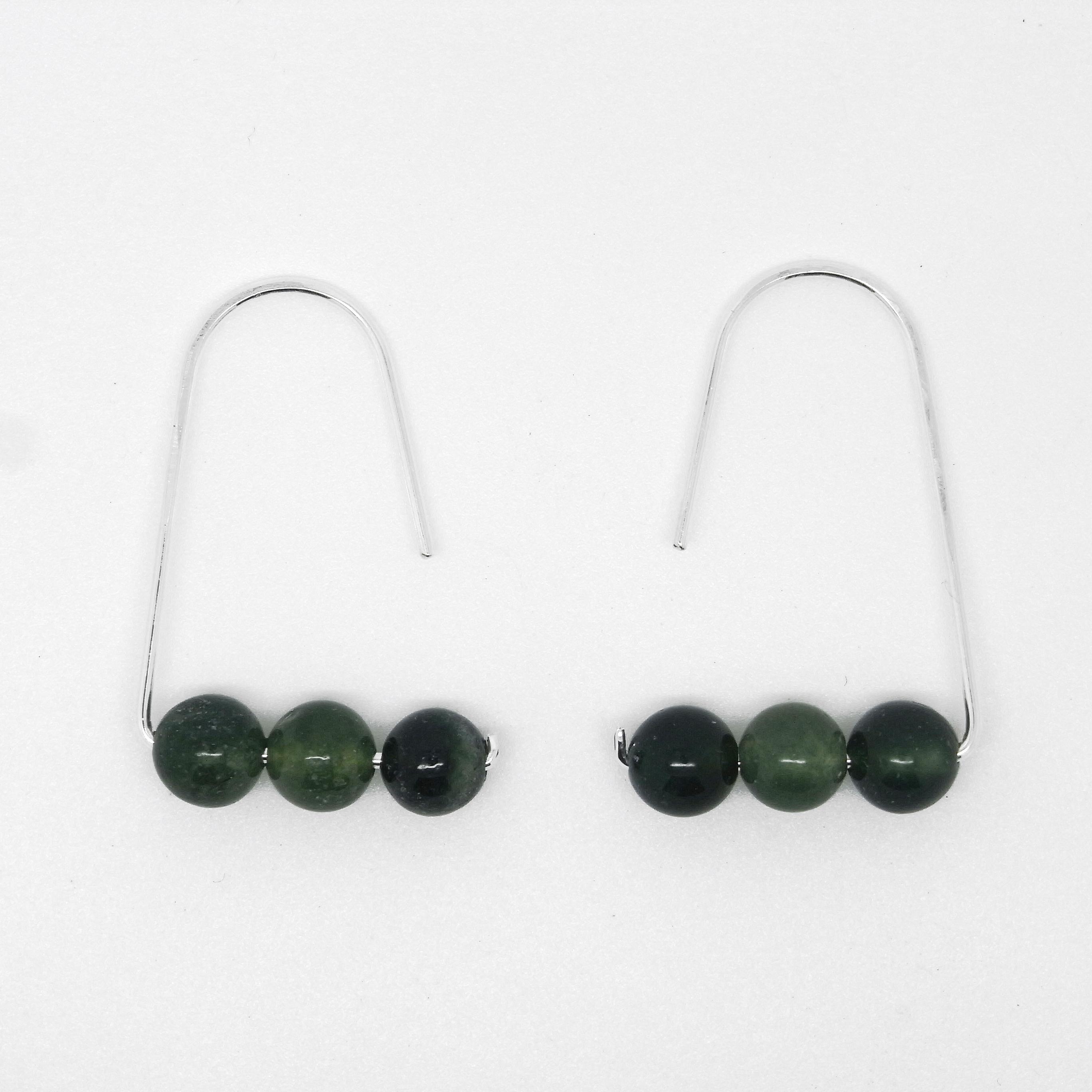 Semi Precious Earrings - Dark Green