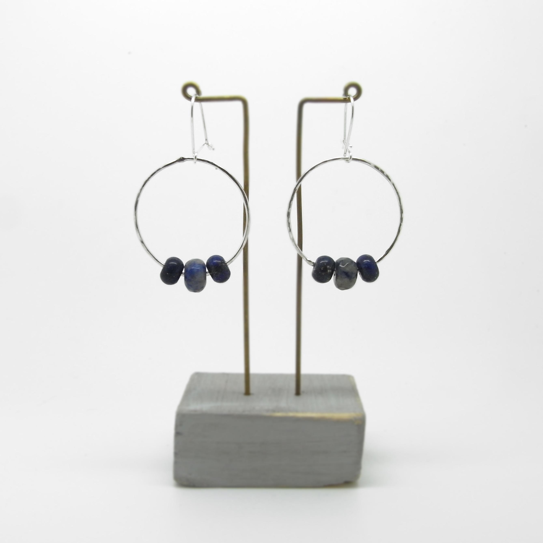 OFFER - Lapis 3 Bead Earrings