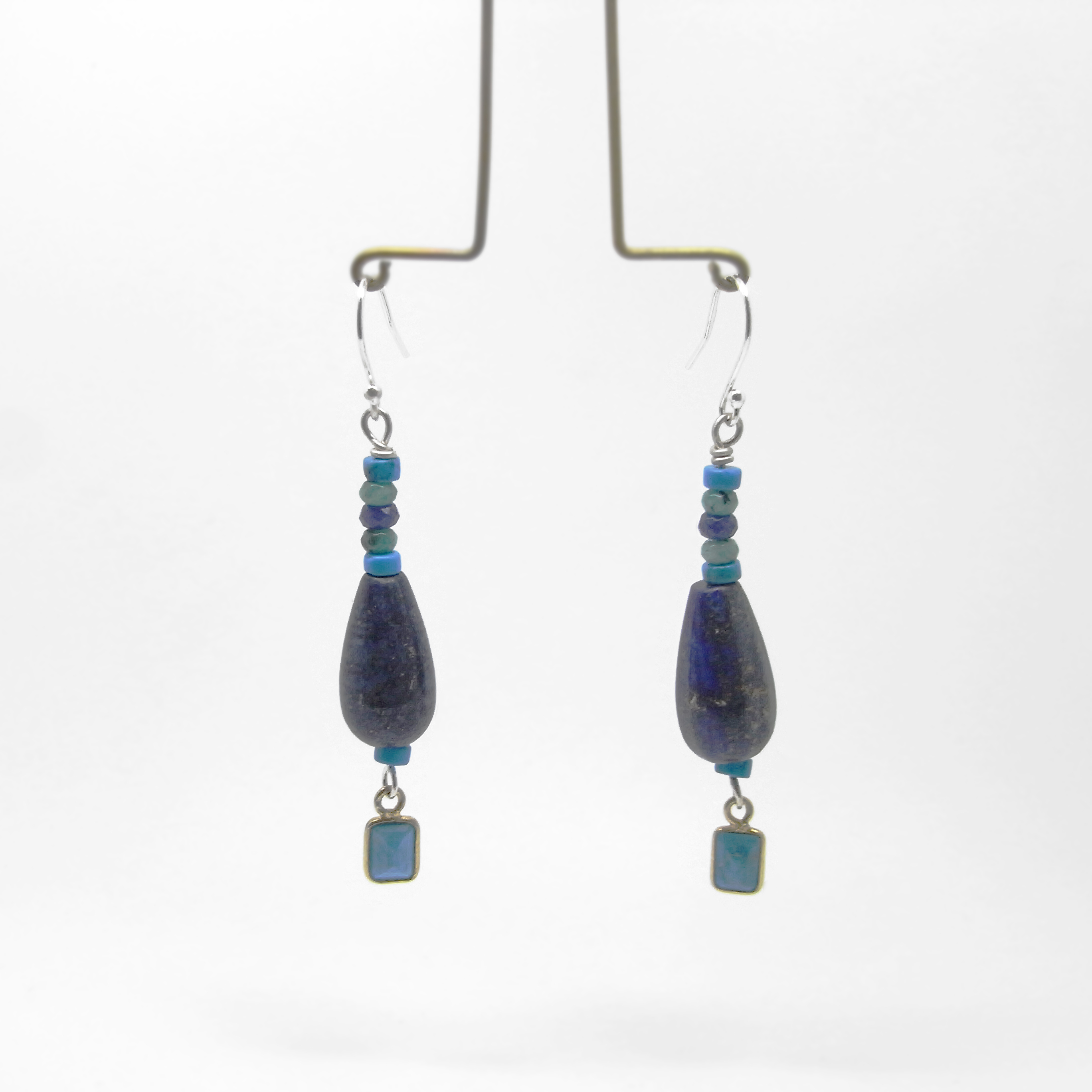 SALE - Lapis, Quarts and Turquoise Bead Earrings Long