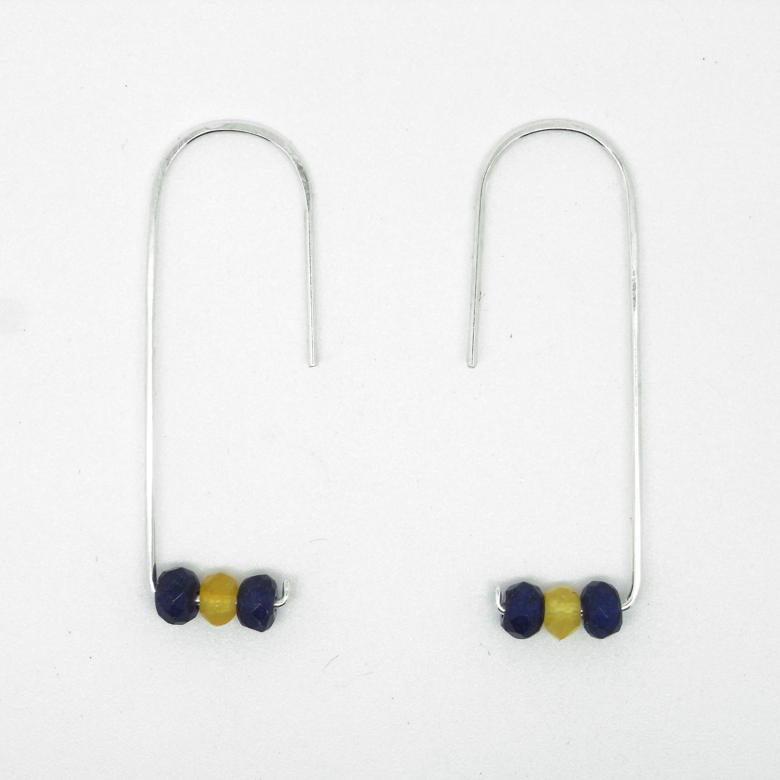 Semi Precious Earrings - Lapis & Lemon Jasper