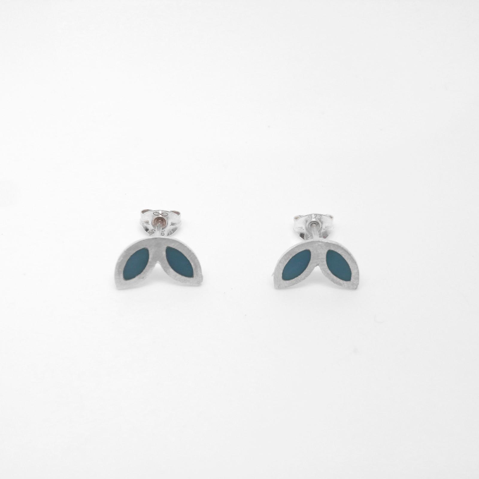 SALE - Silver Petal Studs - Ocean Blue