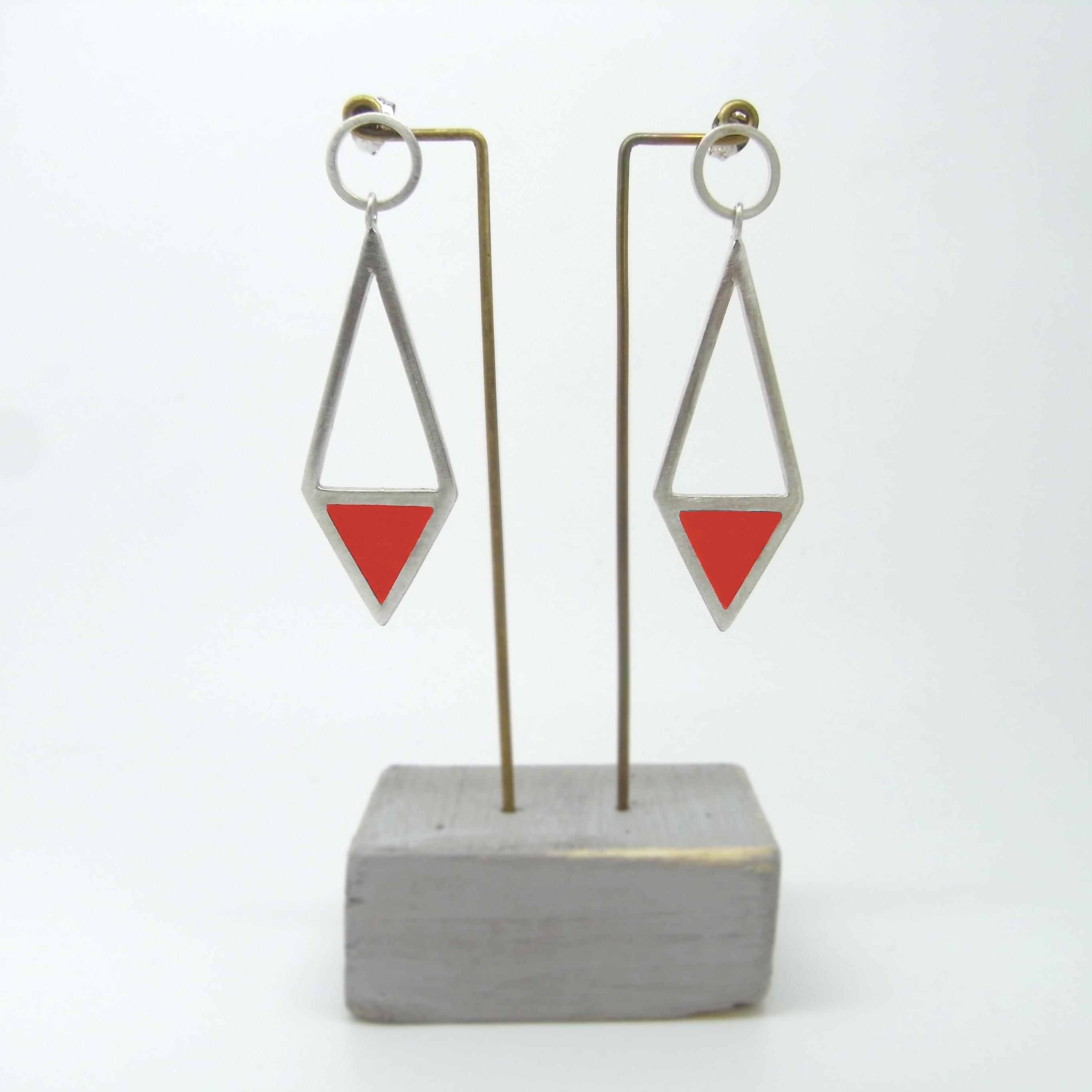Diamond Shape Drop Earrings Red