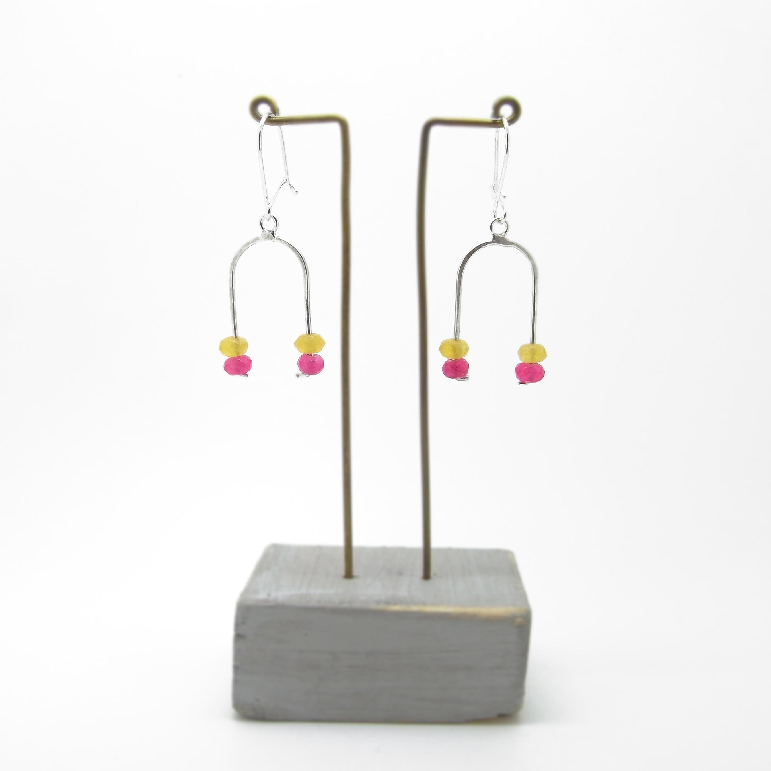Wishbone Earrings - Lemon Jasper & Pink Agate
