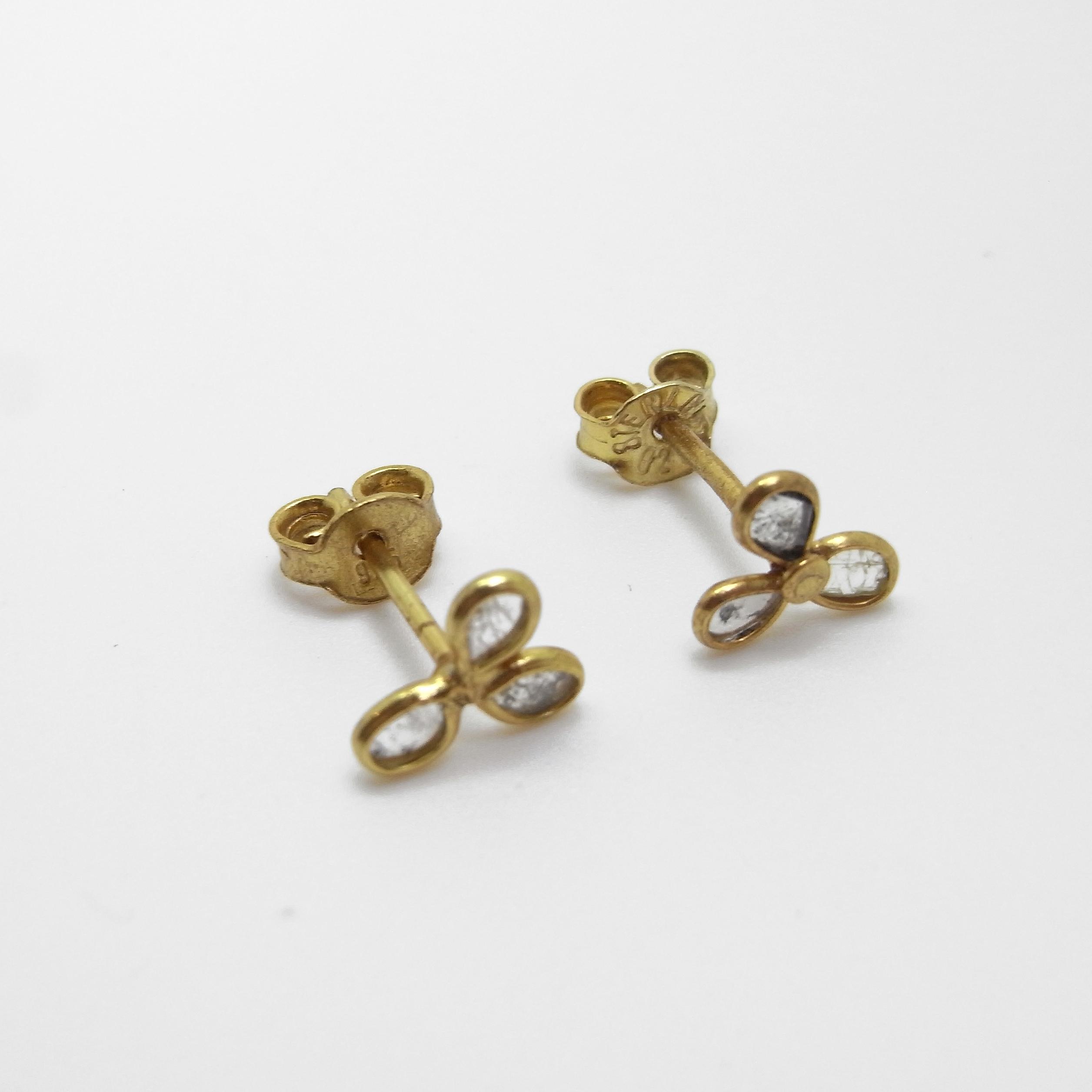 Diamond Stud Petal Earrings