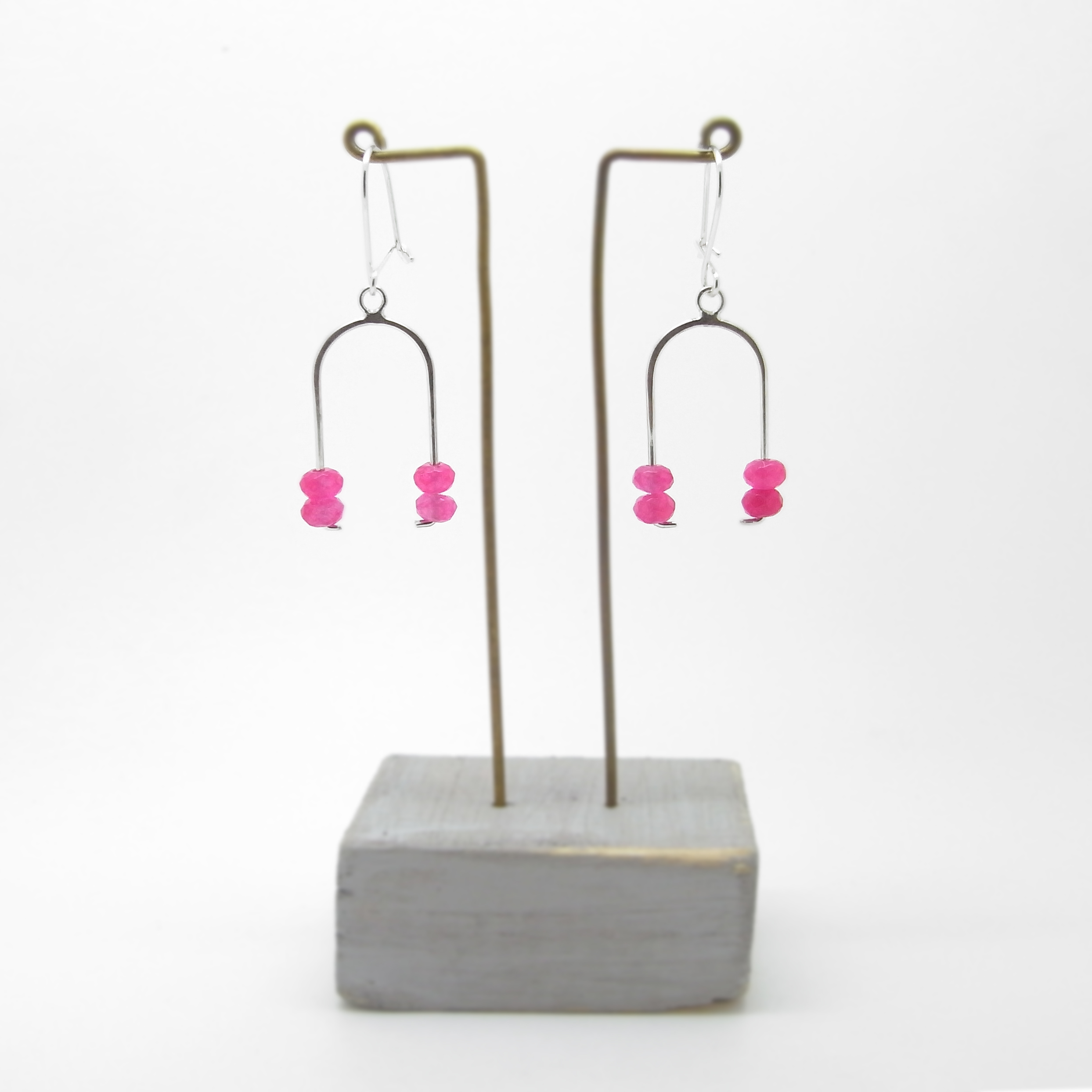 Wishbone Earrings - Pink Agate