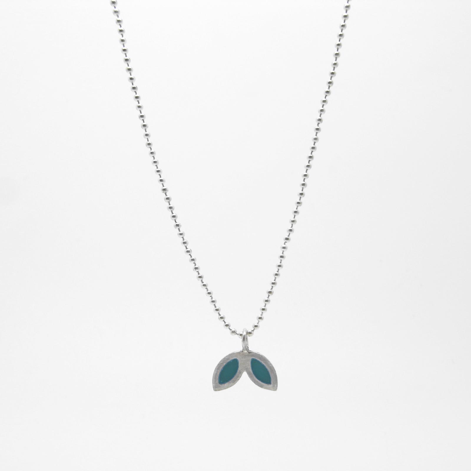 SALE - Silver Petal Necklace - Ocean Blue