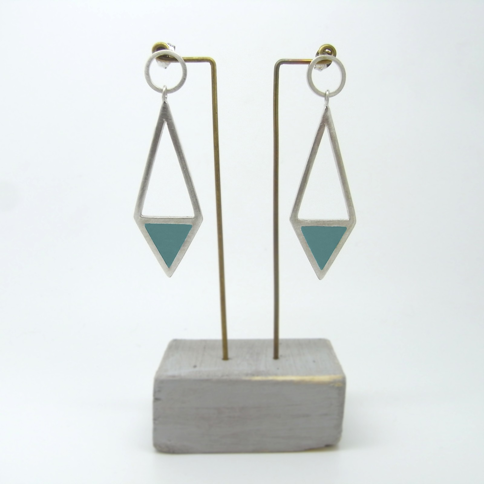 Diamond Shape Drop Earrings Aquamarine
