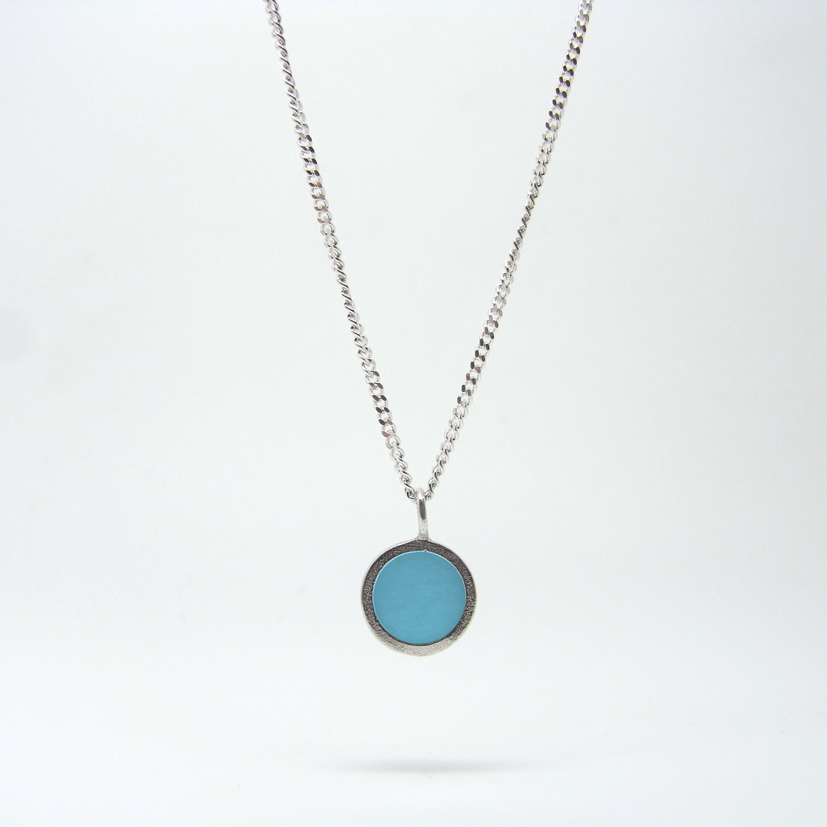SALE - Small Coloured Dot Necklace Baby Blue