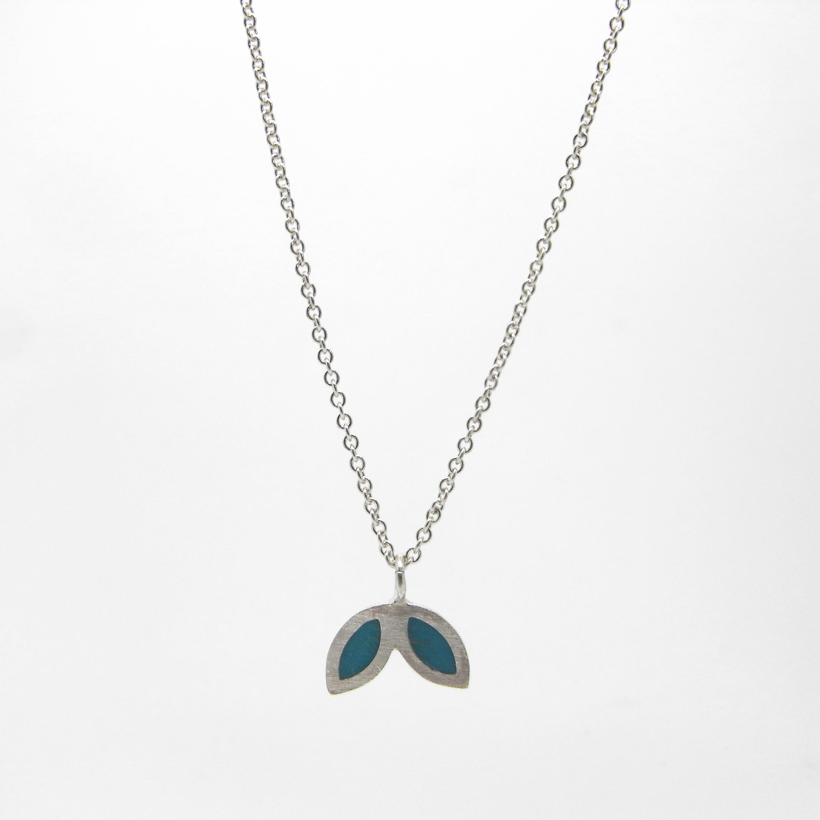SALE - Silver Petal Necklace - Aqua Marine