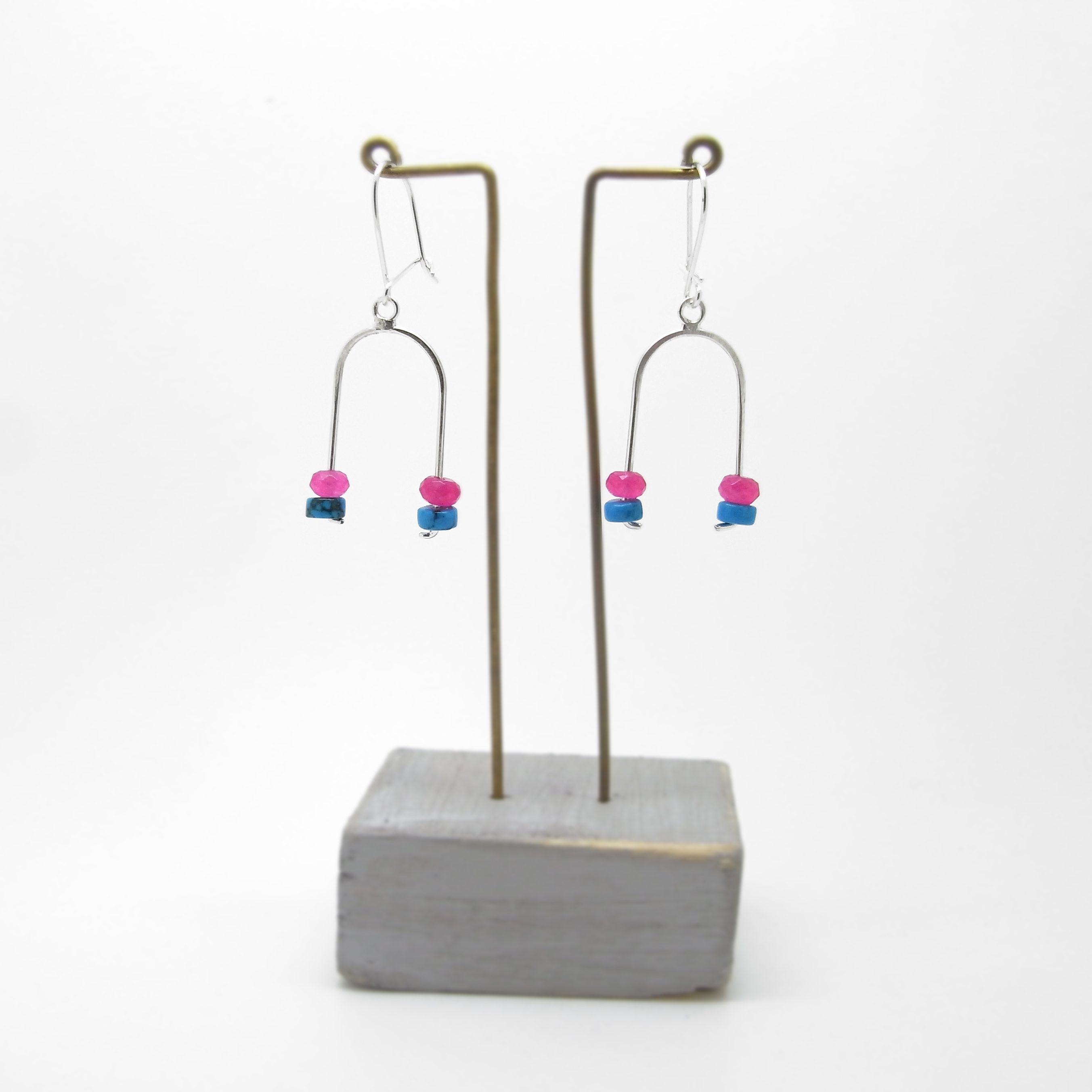 Wishbone Earrings - Turquoise and Pink Agate