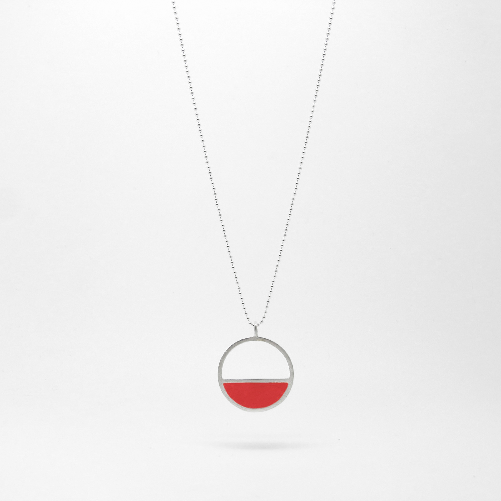 Semi Circle Necklace Red