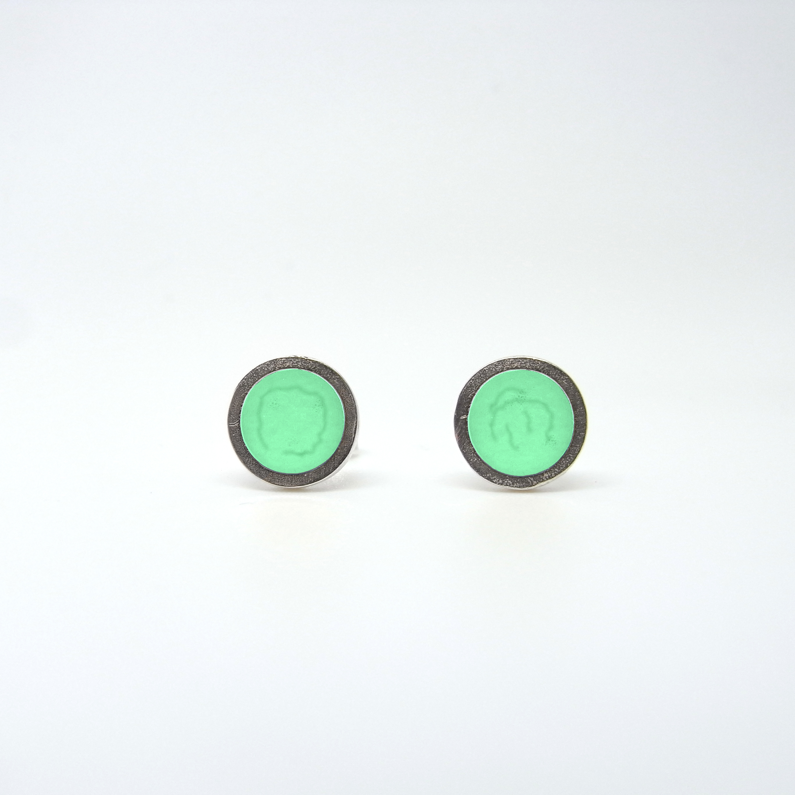 SALE - Small Coloured Dot Studs Bright Green
