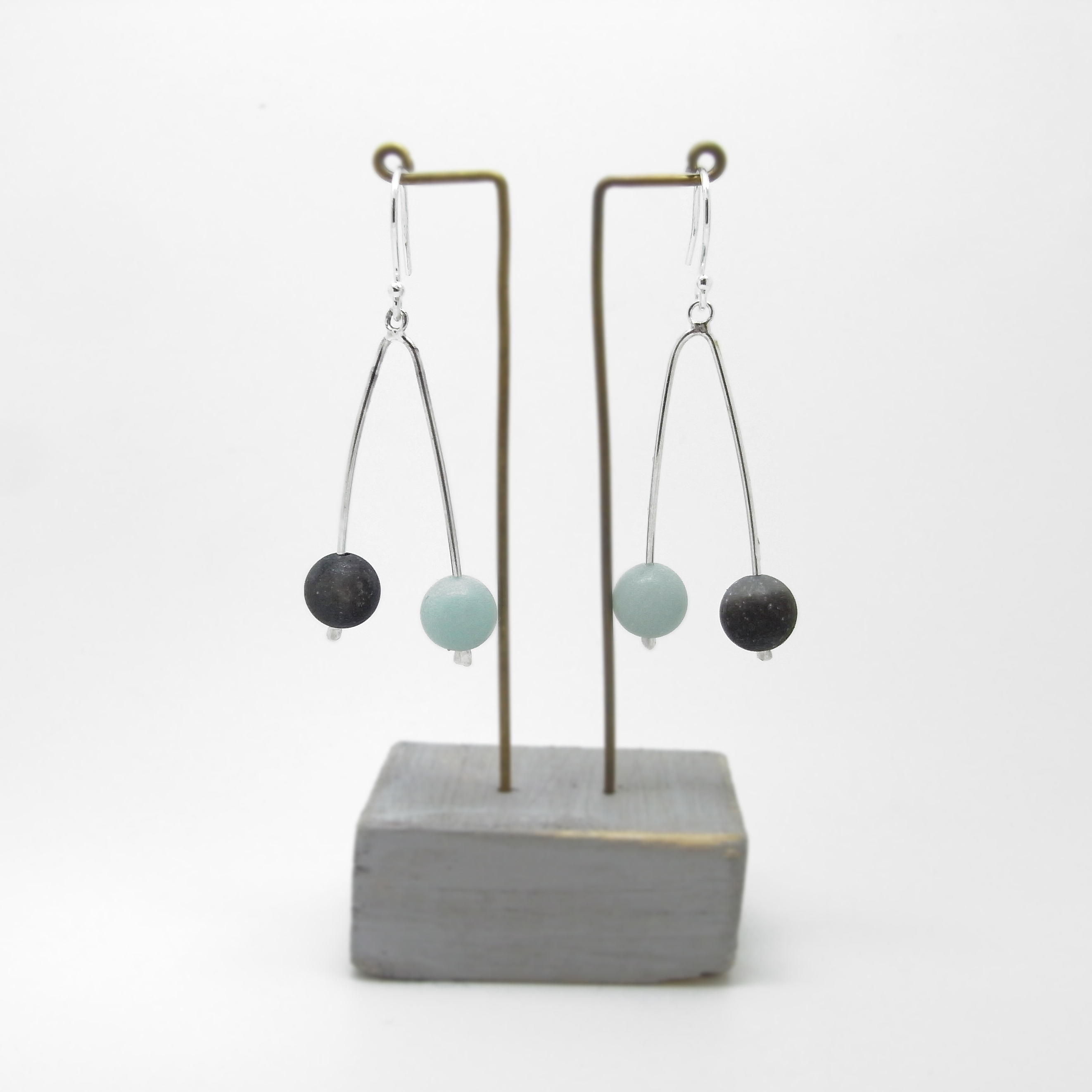 Wishbone Earrings - Amazonite