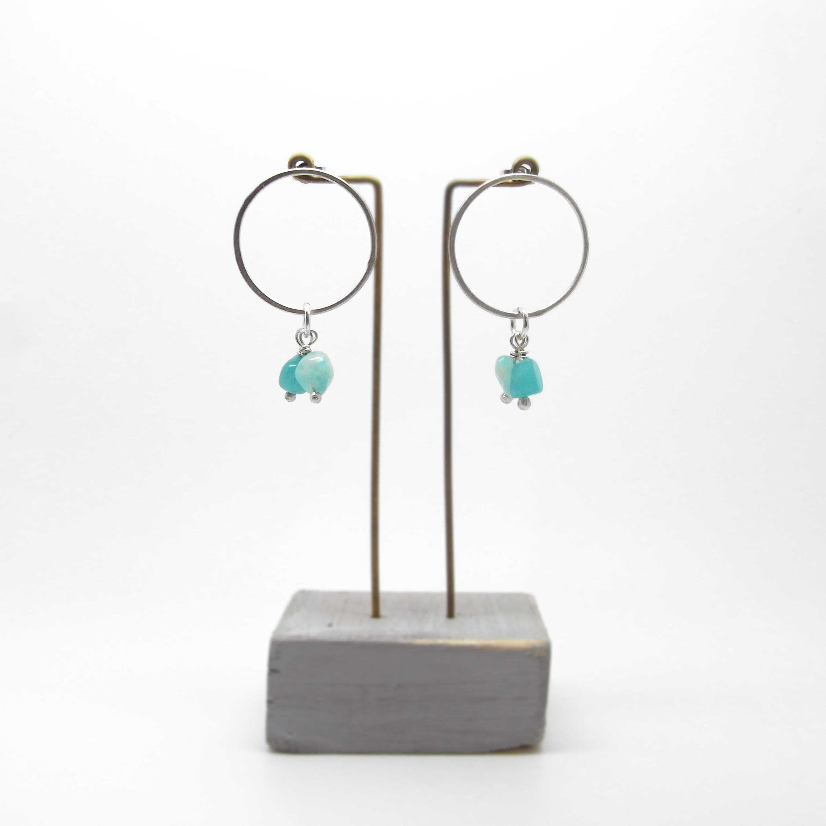 SALE - Round Stud With Semi Precious Bead Earrings