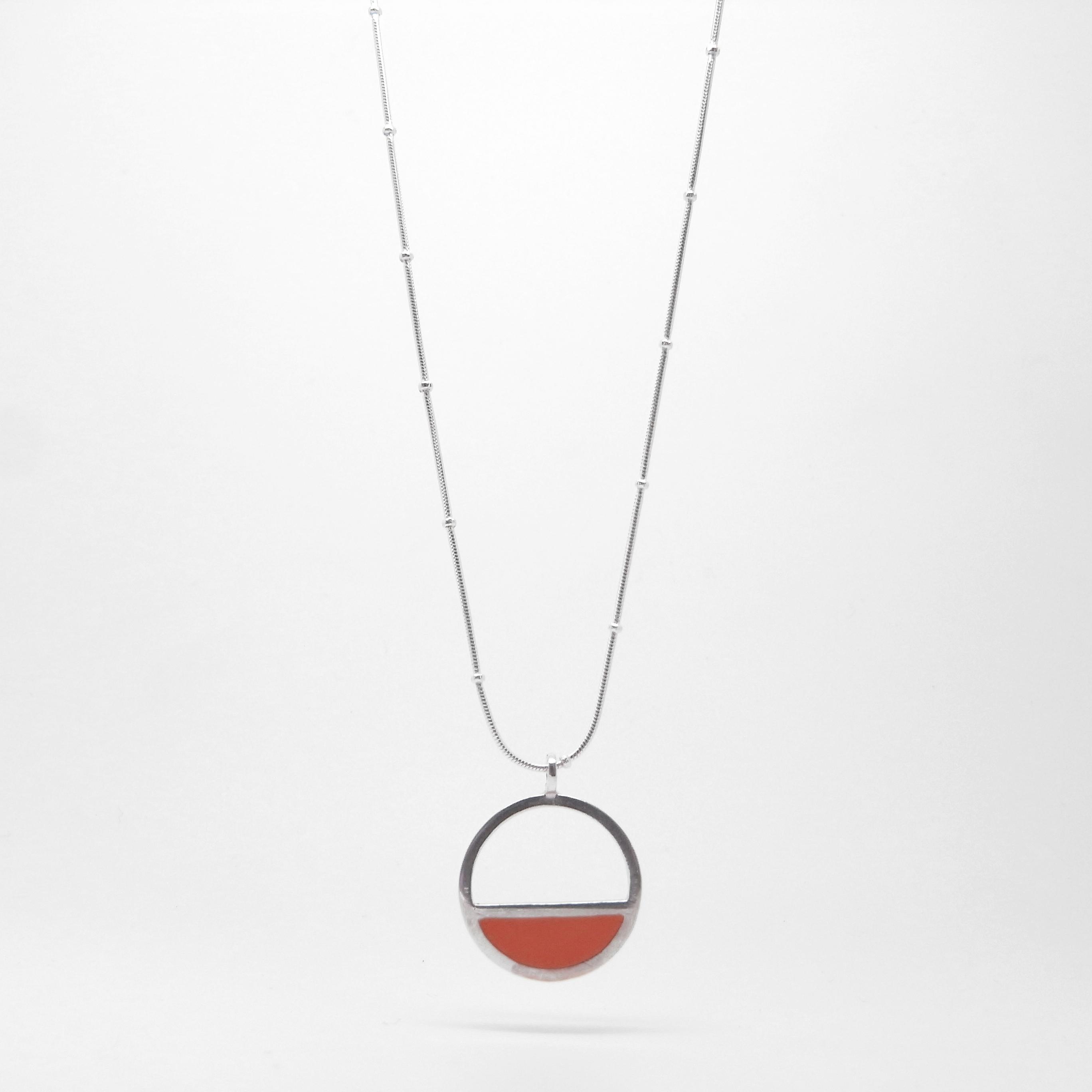 Silver & Resin Semi Circle Necklace