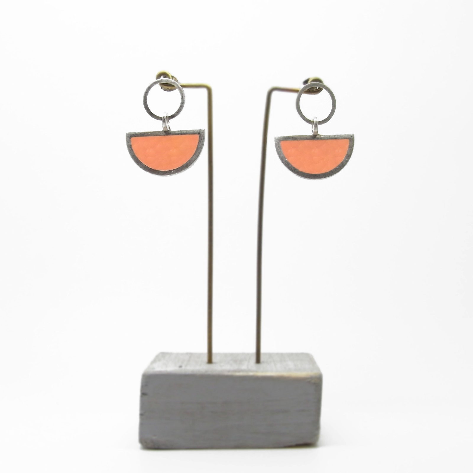 Semi Circle with Round Stud Earrings  Pale Orange