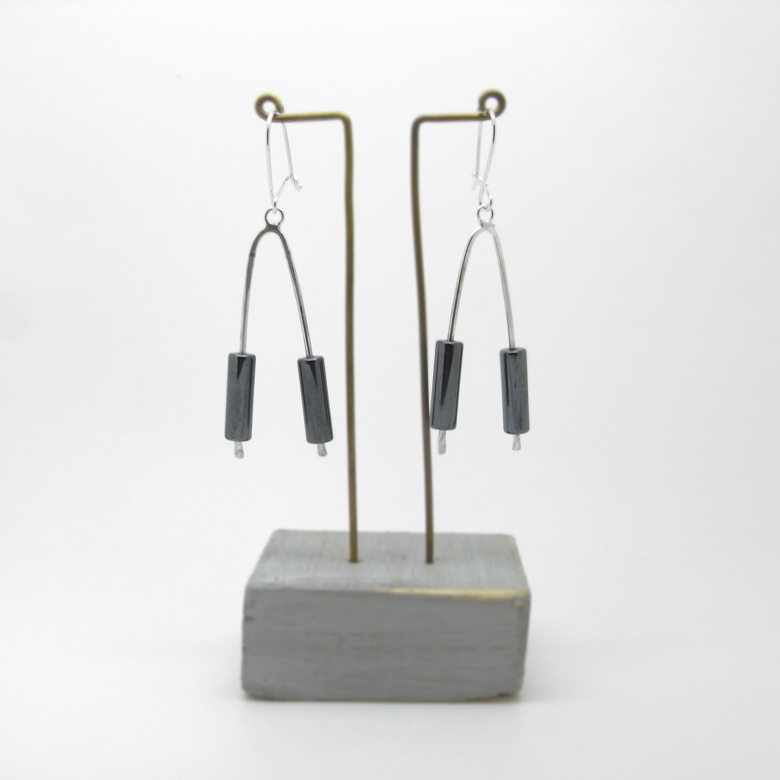 Wishbone Earrings - Hematite