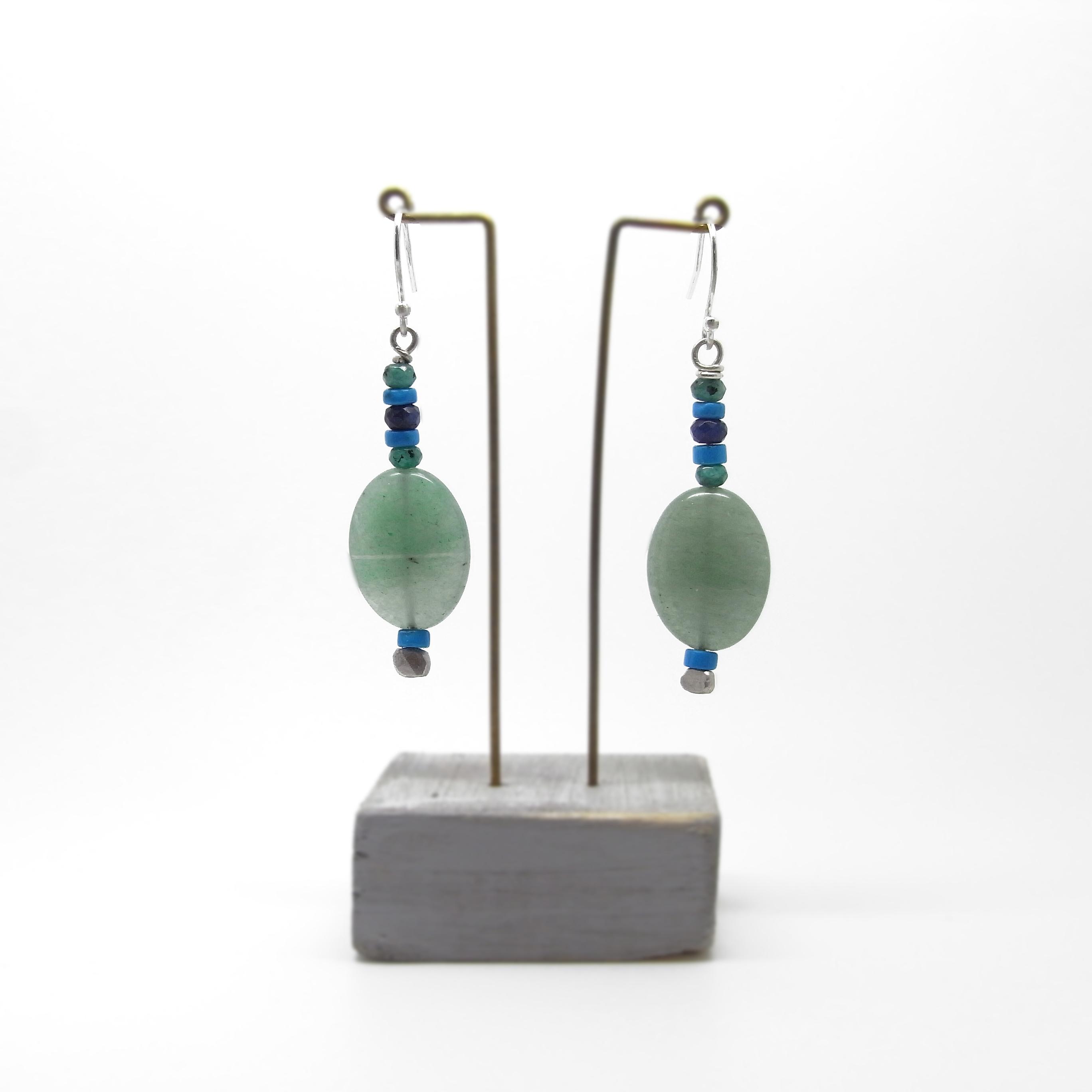 SALE - Aventurine and Green Quartz Bead Earrings