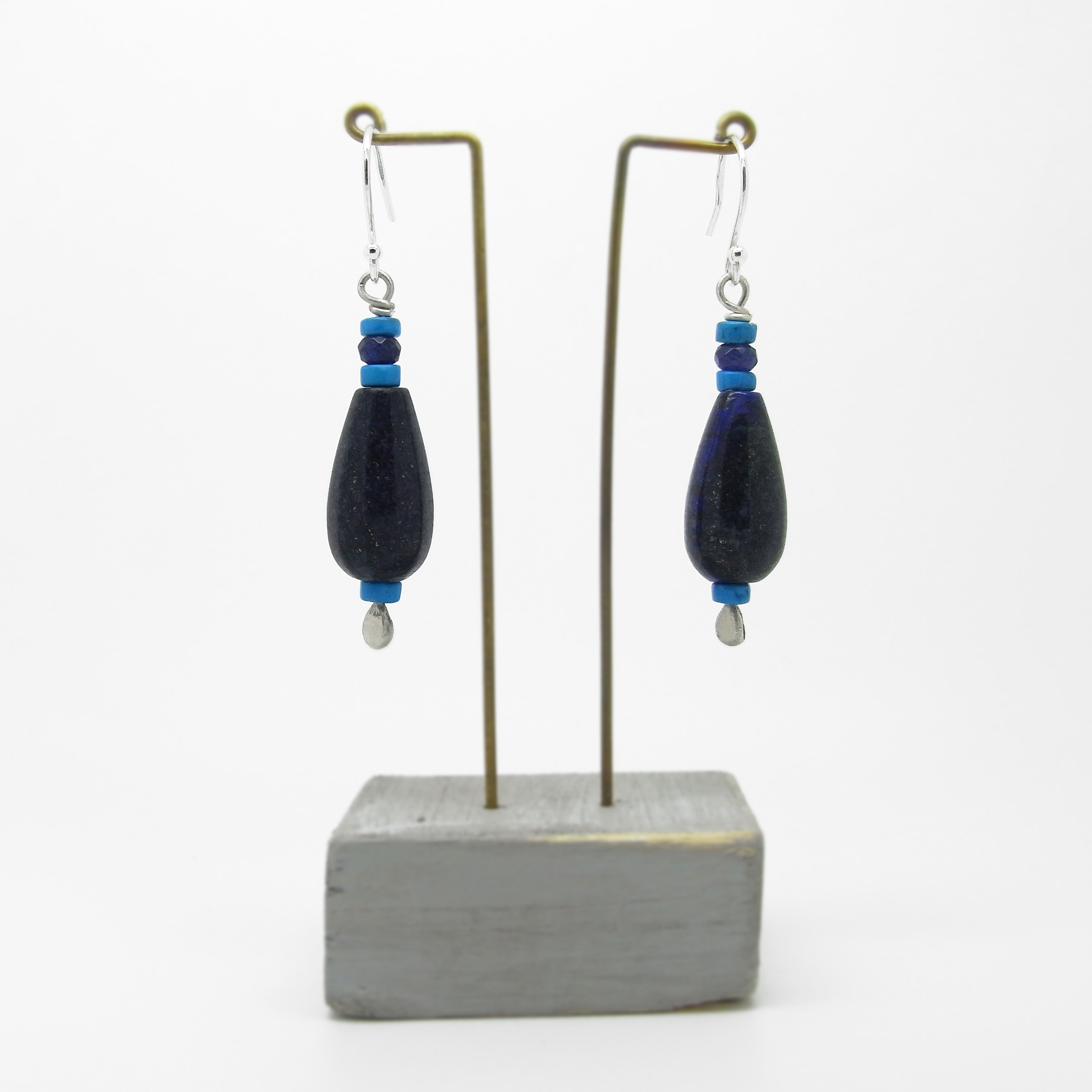 SALE - Lapis and Turquoise Bead Earrings Medium