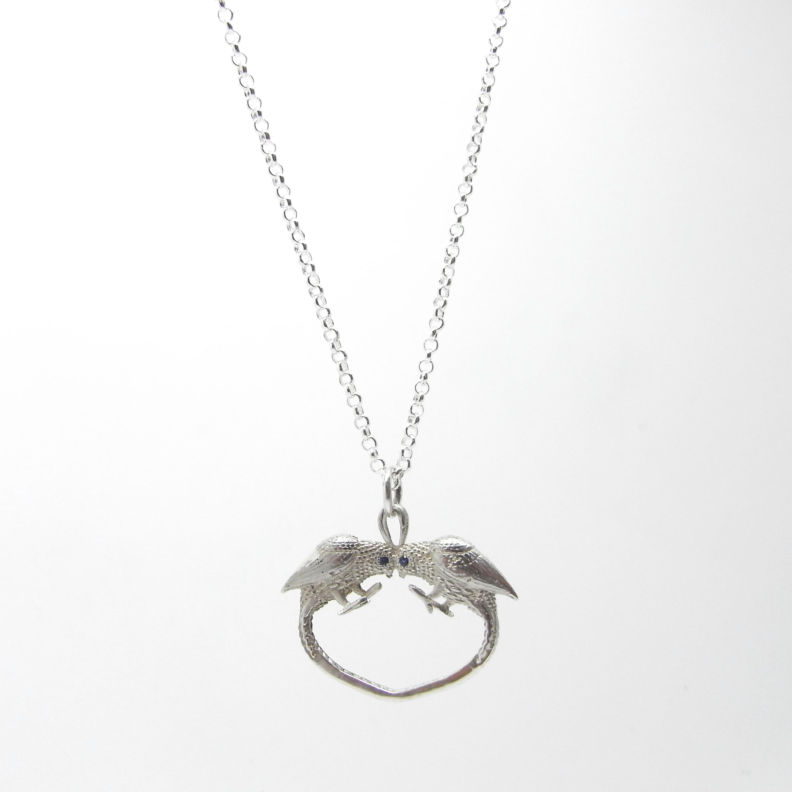 Love Bird Necklace - Silver / Sapphires